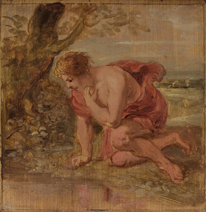 Narcissus wordt op zijn eigen spiegelbeeld verliefd